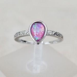 18k Over Sterling Pink Opal Ring